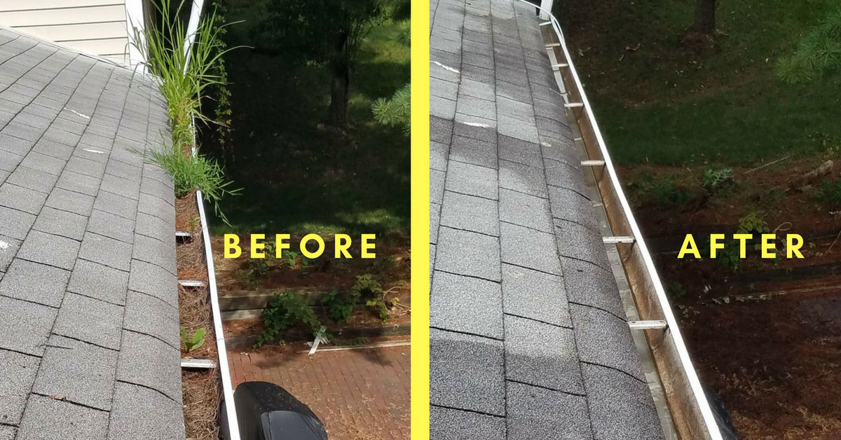 Before & After Gutter Cleaning