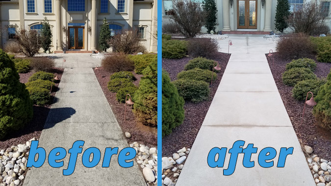 before and after split view of a pressure washed front walkway
