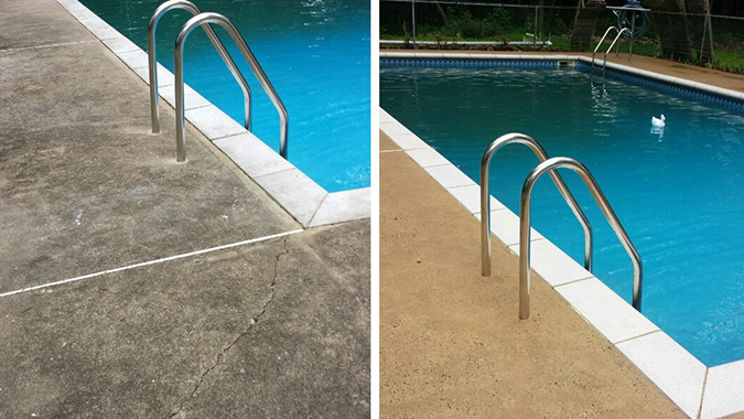 Before and After of a pool deck cleaned by Pressure Brothers