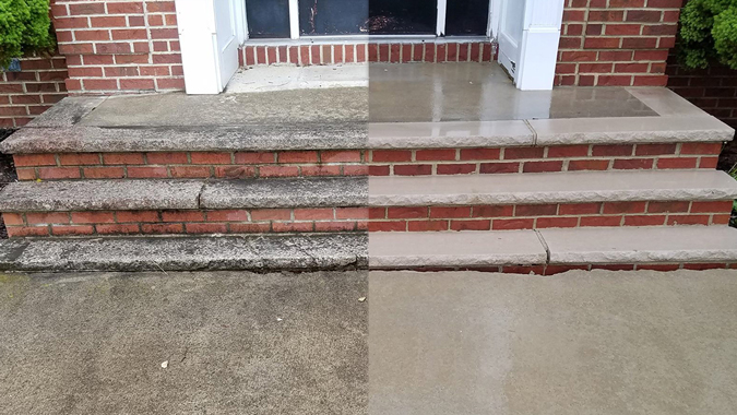 Before and After of a walkway cleaned by Pressure Brothers