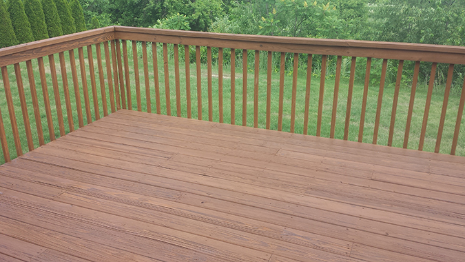 A completely resurfaced and restored deck
